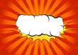 Bright abstract pop art comic book splash cloud. White graphic explosion speech bubble cloud on yellow splash over halftone red and orange gradient ray burst background