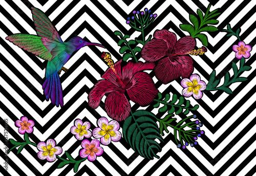 Fototapeta Hawaii flower embroidery black white seamless stripe background. Fashion print decoration plumeria hibiscus palm leaves. Tropical exotic blooming bird hummingbird vector illustration