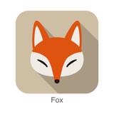 Red fox cartoon face, flat icon design - 157531855