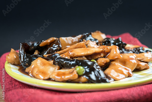Poster Chinese cuisine Black Fungus and carrot mix
