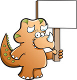 Cartoon illustration of a triceratops holding a sign.