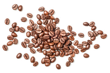 coffee beans on white, top view