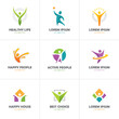 Set of abstract colorful human logo