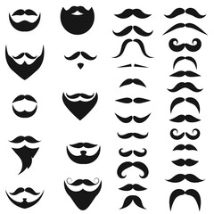 Set of black icons of Beards and Mustaches