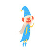 Funny gnome wearing in a blue with painted face colorful cartoon character vector Illustration