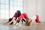 Young mother and daughters doing yoga exercise