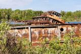rusty shipwreck at chernobyl shipgraveyard