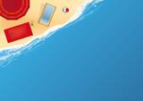 Fototapeta plage - vacances - vue du dessus - fond - symbole - concept - mer