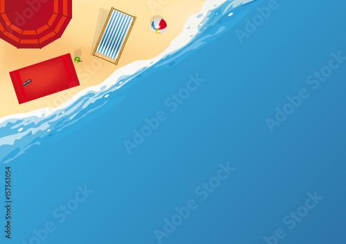 plage - vacances - vue du dessus - fond - symbole - concept - mer