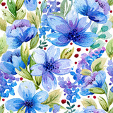 Seamless pattern with watercolor leaves and blue flowers. Illustration can be used for gift wrapping, background of web pages, as a print for any printing products.