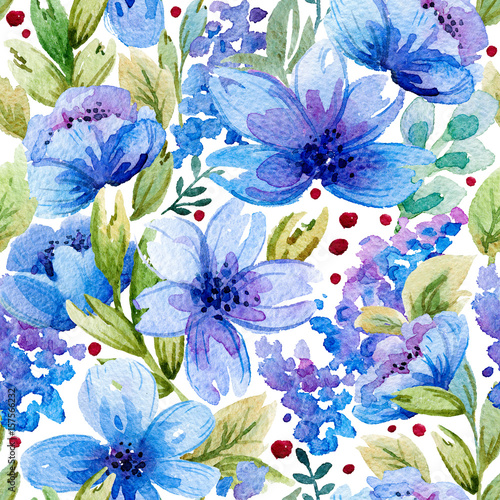 Seamless pattern with watercolor leaves and blue flowers. Illustration can be used for gift wrapping, background of web pages, as a print for any printing products. - 157566232