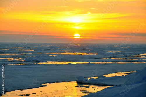 Panorama and just air  on ice floes, terrain and scenery Antarctic. Sunrise, day, sunset. Shooting with quadrocopter.