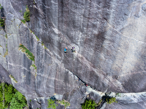 Climbers on the rock - Aerial view Poster