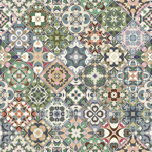 Vector set of square seamless patterns. - 157577418