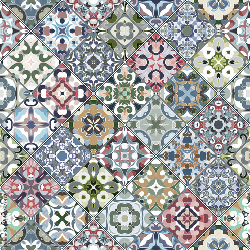 Vector set of square seamless patterns. - 157577472
