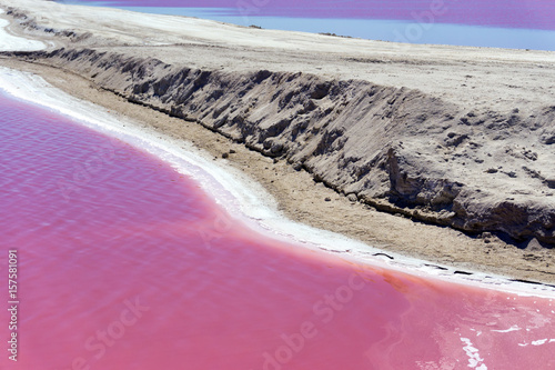 View of pink colored water in Rio Lagartos, Mexico