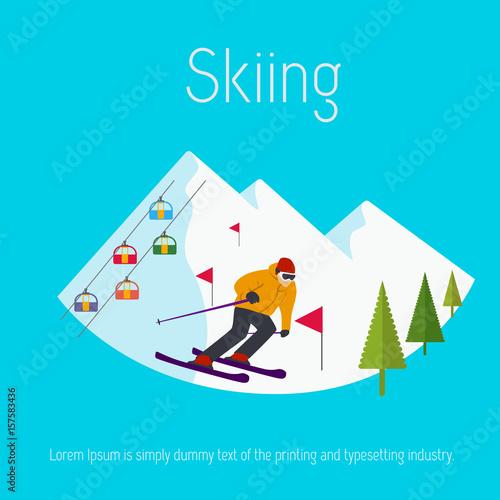 Fotobehang Turkoois Mountains ski resort cable cars trees skier. Flat design