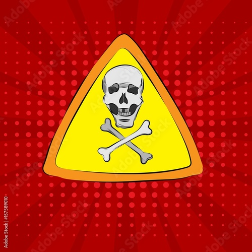 Pop art on a red background with a skull and bones