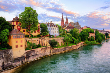 Basel Old Town with Munster cathedral and Rhine, Switzerland © Boris Stroujko