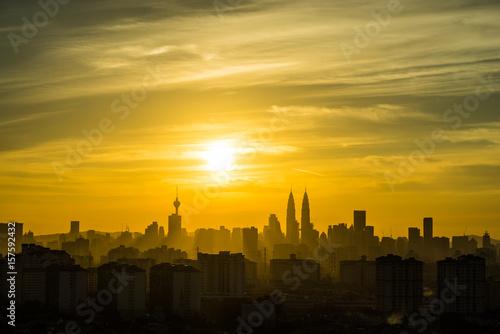 Poster Kuala Lumpur View of downtown Kuala Lumpur during majestic sunset
