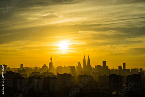 View of downtown Kuala Lumpur during majestic sunset Poster