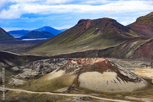 Papiers peints Cappuccino aerial view to crater of old volcano in Iceland