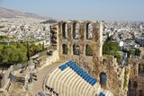 The Odeon of Herodes Atticus, an ancient stone theater on the Athenian Acropolis in Athens, Greece