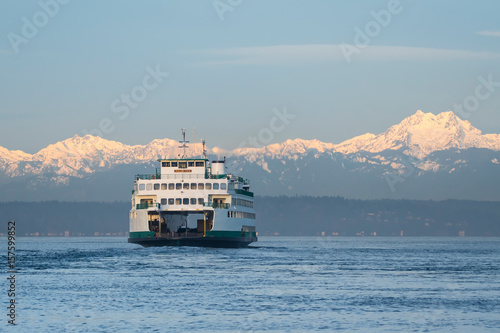 Poster Ferry and Olympic Mountains