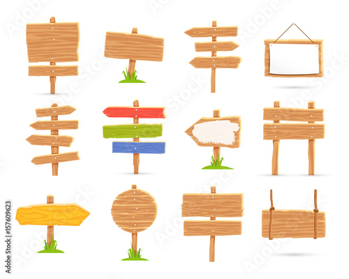 Set of wooden tablets and signposts - 157609623