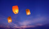 Lanterns in the sky closeup - 157614421