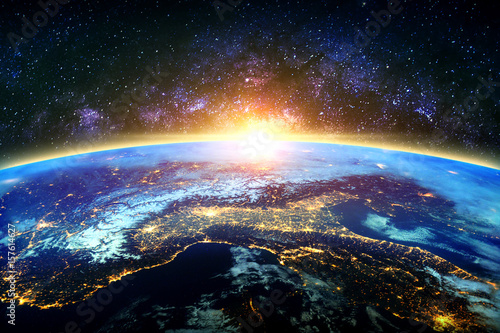 Keuken foto achterwand Heelal Earth and galaxy. Elements of this image furnished by NASA.