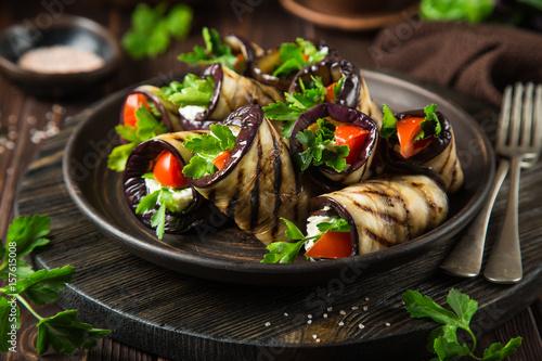 eggplant rolls with garlic feta, tomato and herbs