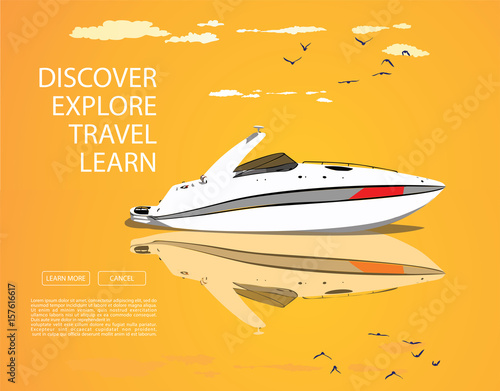 Papiers peints Nautique motorise white speed boat and yellow sunset with clouds