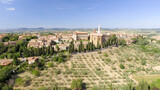 Beautiul aerial view of Pienza, Tuscany medieval town on the hill
