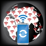 world with wireless connection vector illustration