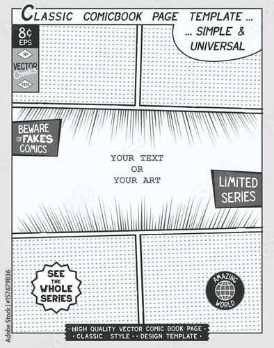 Free E Comic Book Page Template Comics Layout And Action With Sd Lines Halftone