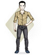 Happy brunet young adult man standing. Vector character wearing casual clothes like jeans and cotton shirt.