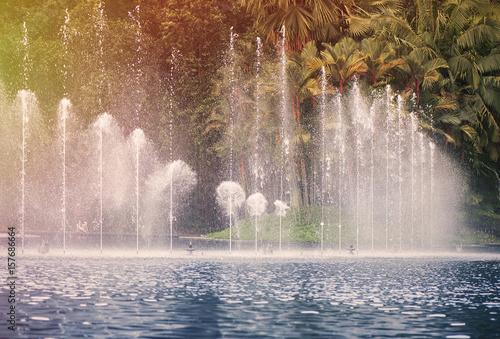 Tuinposter Kuala Lumpur Fountain in KLCC Park in Kuala Lumpur on sunset. Malaysia