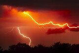 Clouds and thunder lightnings and storm on the dark cloudy sky - 157691829