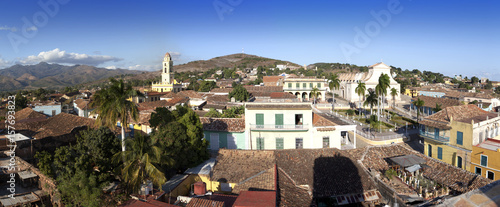 Panoramic aerial view on Trinidad with Lucha Contra Bandidos, Cuba