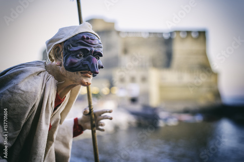 Foto op Canvas Napels Lndscape of Naples with Pulcinella mask, Italy travel concept, Naples Italy