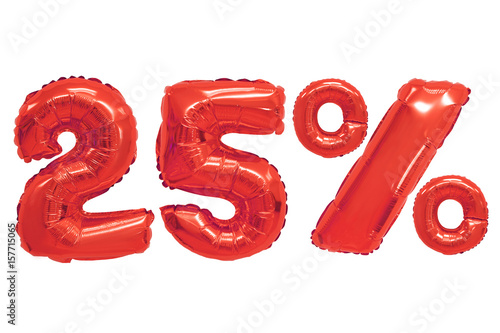 Poster twenty five percent from balloons red color
