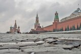 Moscow, Russia - May 7, 2017: Uneven stones on Red square in the background of grey sky. Kremlin is a fortress, the main socio-political, historical and artistic complex of the city