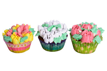 cupcakes with cream isolated