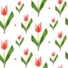 Seamless pattern. Low poly flower tulip. Vector background.