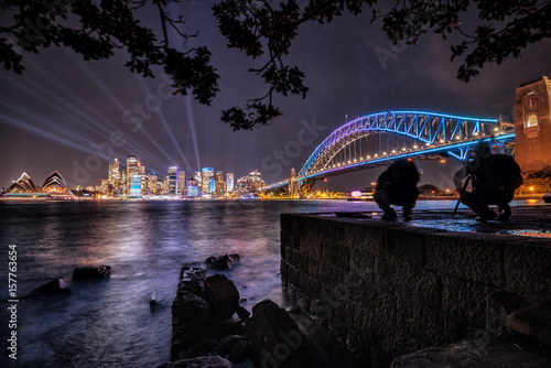 Aluminium Sydney Sydney nightlight, Australia. May 30, 2017. Sydney city illuminated with colourful light design imagery, during the Vivid Sydney. The view from milsons point.