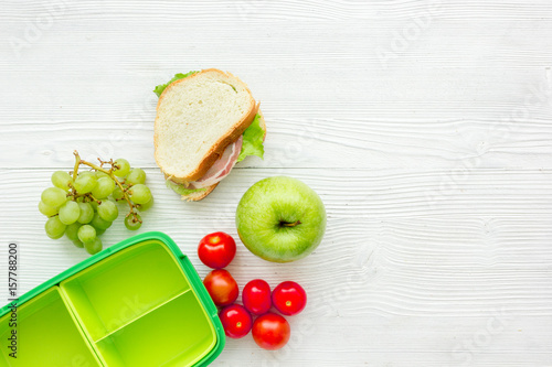 take away with lunchbox and fresh food on white background top view space for text - 157788200