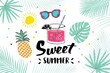 Summer hand drawn illustrations and elements for summer holiday, travel, beach vacation, sun.