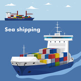 Commercial sea shipping banner template - 157798641