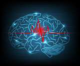 Abstract brain wave concept on blue background - 157813490